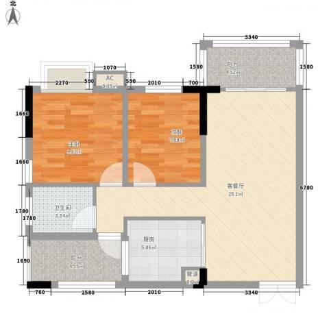 利豪名郡2室1厅1卫1厨87.00㎡户型图