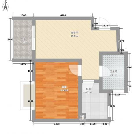 漓水书香1室1厅1卫1厨56.00㎡户型图