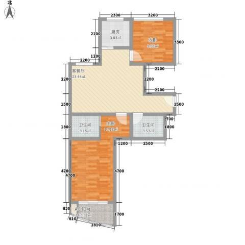 欣中爱丁堡项目2室1厅2卫1厨96.00㎡户型图