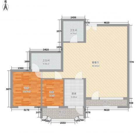 龙凤大厦2室1厅2卫1厨123.00㎡户型图