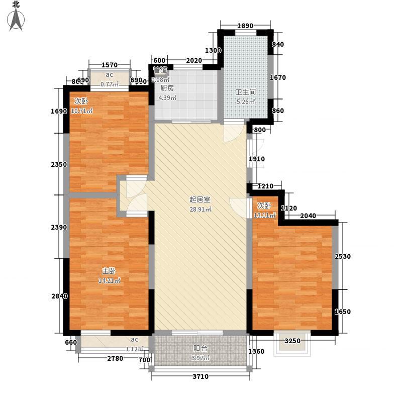 富城湾118.00㎡三期园林房B1户型3室2厅1卫1厨
