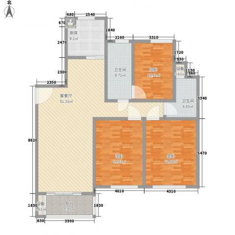 金色维也纳3室1厅2卫1厨155.00㎡户型图