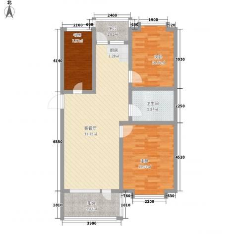 沈阳世界温泉部落(一期)美国郡3室1厅1卫0厨99.00㎡户型图