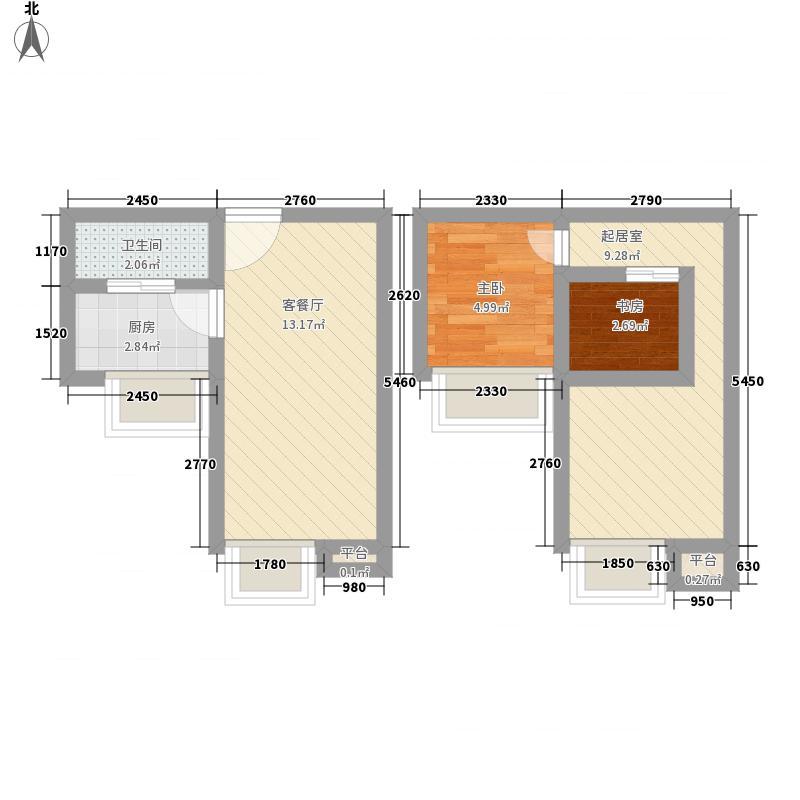 翰林城53.70㎡13层公寓K2户型1室2厅1卫1厨