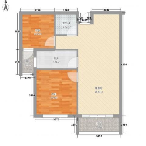 龙泉国际2室1厅1卫1厨82.00㎡户型图