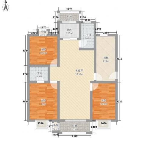 东方名城和园3室1厅2卫1厨119.00㎡户型图