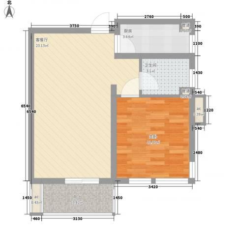 格林馨园1室1厅1卫1厨165.00㎡户型图