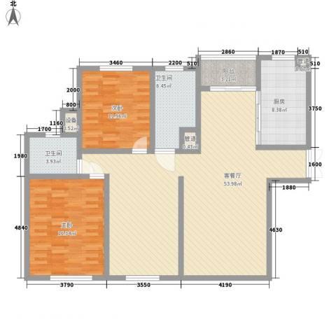 金色维也纳2室1厅2卫1厨151.00㎡户型图
