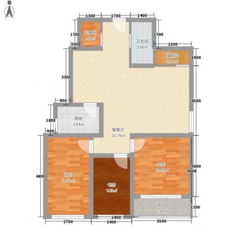 欣中爱丁堡项目3室1厅1卫1厨90.00㎡户型图