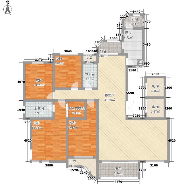文峰城市广场221.22㎡文景嘉苑户型4室3厅2卫1厨