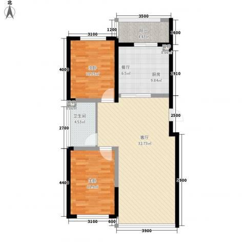 桐楠格翡翠城2室1厅1卫1厨74.30㎡户型图