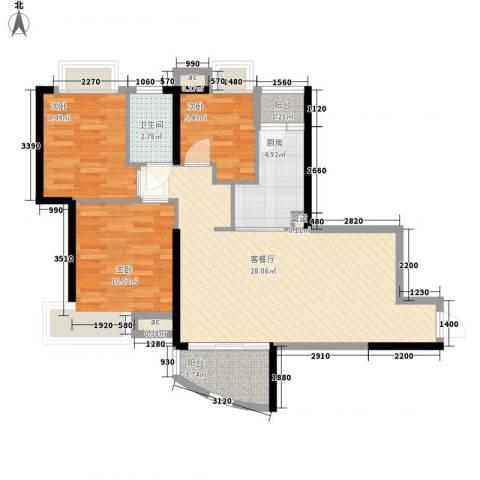 富力朗逸轩3室1厅1卫1厨94.00㎡户型图