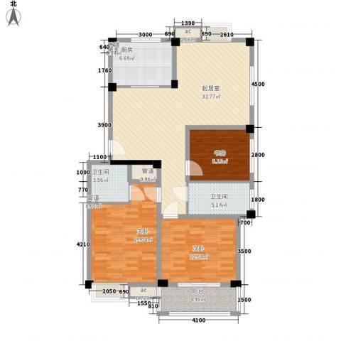 乐东小区3室0厅2卫1厨91.39㎡户型图