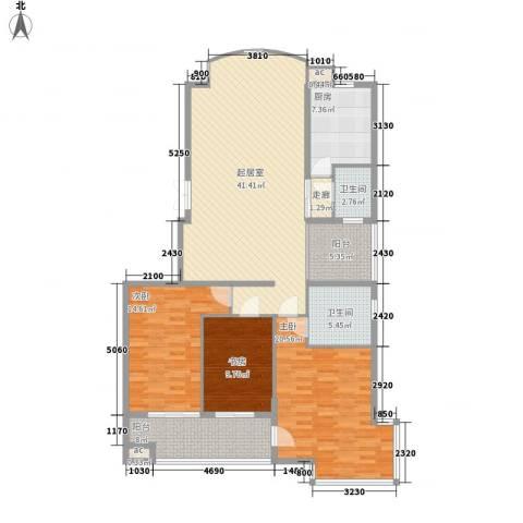 向阳湖社区3室0厅2卫1厨163.00㎡户型图