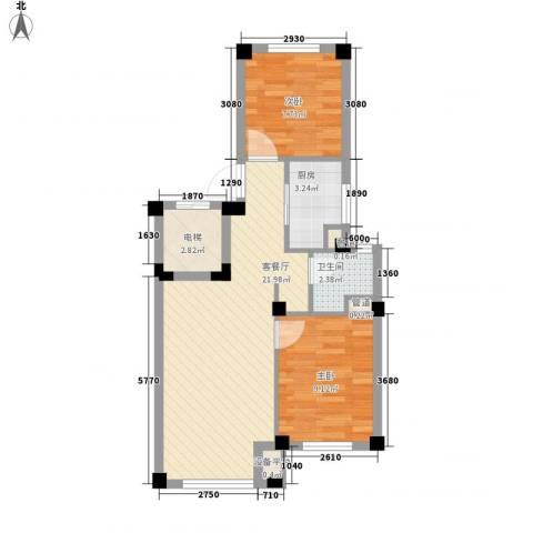 国民院子2室1厅1卫1厨70.00㎡户型图