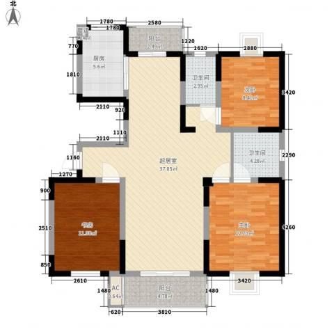 太湖明珠苑3室0厅2卫1厨131.00㎡户型图
