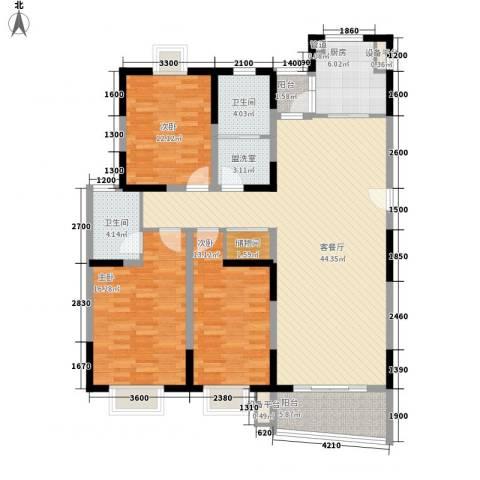 扬子佳竹苑3室1厅2卫1厨162.00㎡户型图