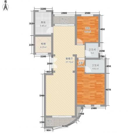 文峰城市广场2室1厅2卫1厨126.00㎡户型图