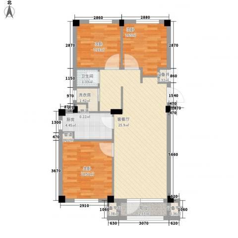 国民院子3室1厅1卫1厨90.00㎡户型图