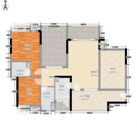 万科金域蓝湾2室1厅2卫1厨133.35㎡户型图