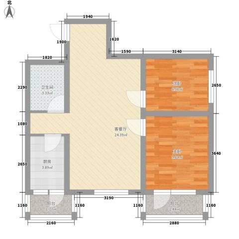 中交 金海湾2室1厅1卫1厨79.00㎡户型图