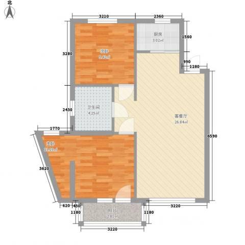 中交 金海湾2室1厅1卫1厨91.00㎡户型图
