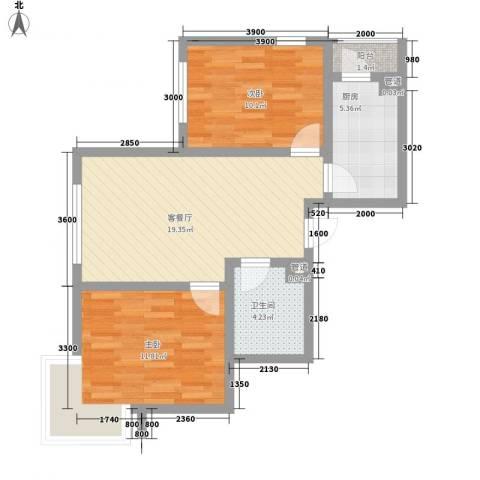 汇水湾2室1厅1卫1厨76.00㎡户型图