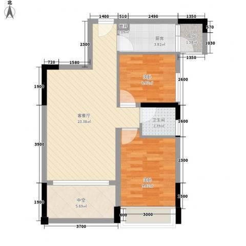 香缤雅苑2室1厅1卫1厨70.00㎡户型图