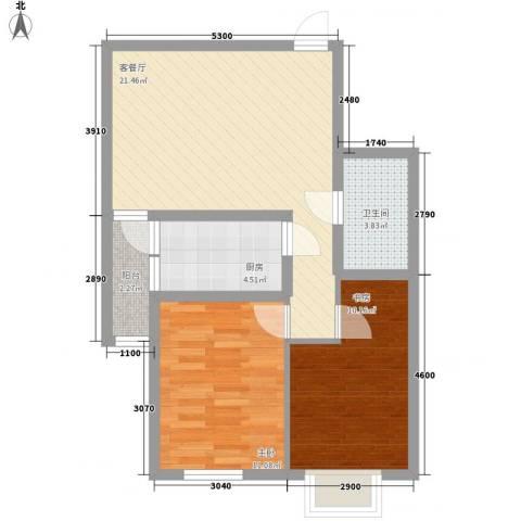 臻观苑2室1厅1卫1厨73.00㎡户型图