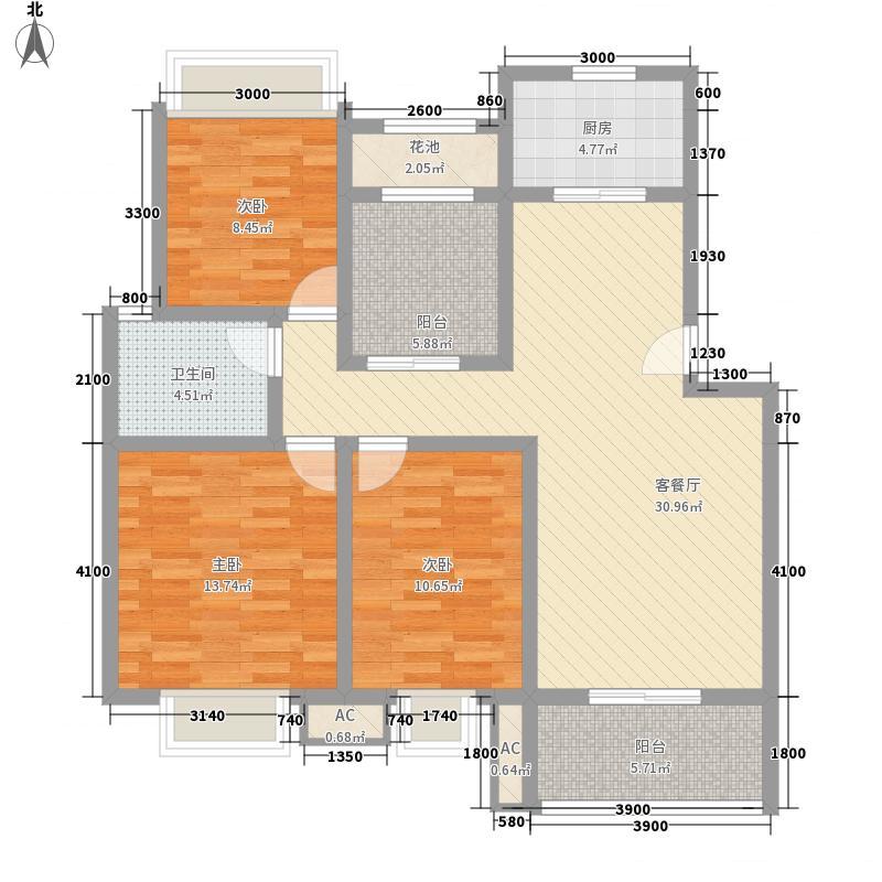 丰尚国际G# 户型 三房两厅一卫 3室2厅1卫1厨 102.41㎡