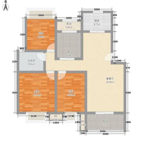 丰尚国际3室1厅1卫1厨102.00㎡户型图