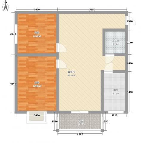臻观苑2室1厅1卫1厨105.00㎡户型图