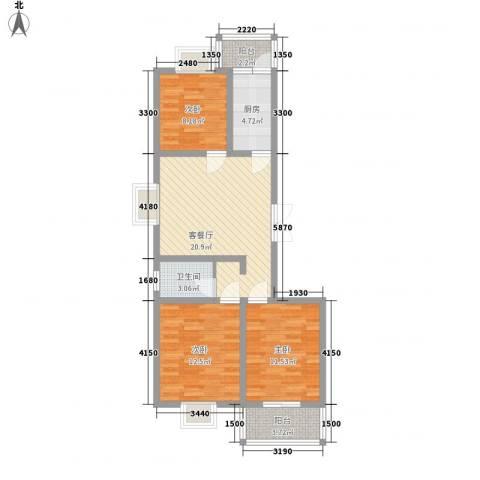 臻观苑3室1厅1卫1厨99.00㎡户型图