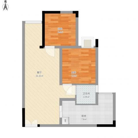 铂晶城 天王星・铂晶城2室1厅1卫1厨65.00㎡户型图