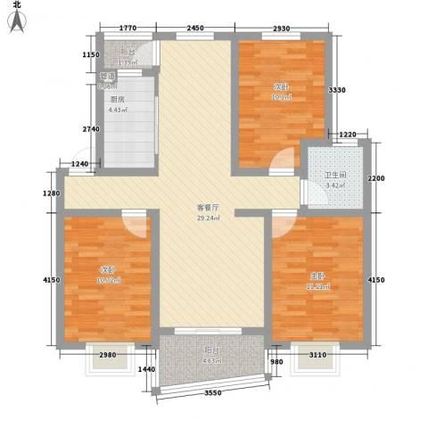 铁静苑3室1厅1卫1厨110.00㎡户型图