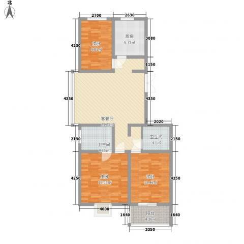 臻观苑3室1厅2卫1厨118.00㎡户型图
