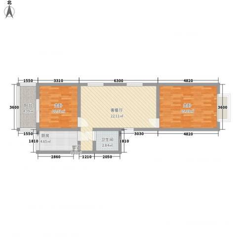 臻观苑2室1厅1卫1厨87.00㎡户型图