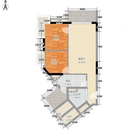 金丰大厦2室1厅1卫1厨80.00㎡户型图