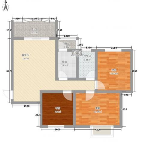 碧水秀城3室1厅1卫1厨97.00㎡户型图