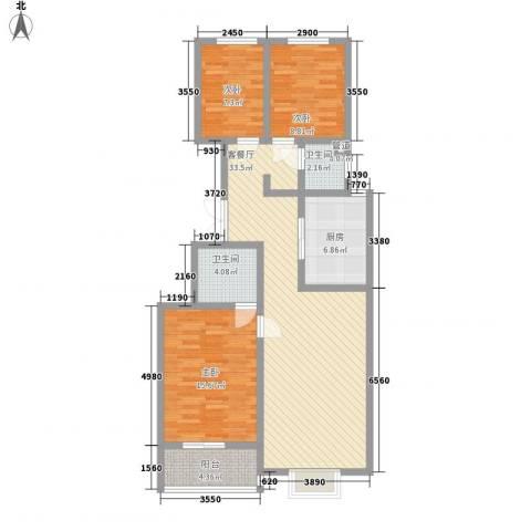 臻观苑3室1厅2卫1厨116.00㎡户型图
