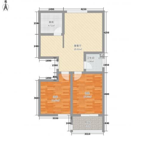碧水秀城2室1厅1卫1厨90.00㎡户型图