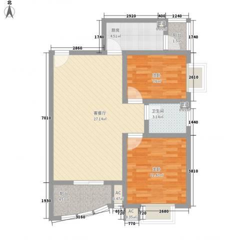 碧水秀城2室1厅1卫1厨89.00㎡户型图