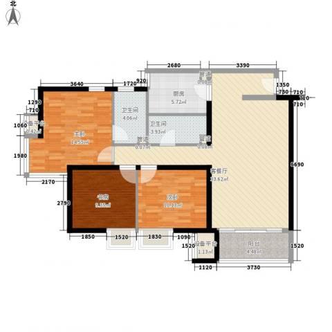 铁静苑3室1厅2卫1厨126.00㎡户型图