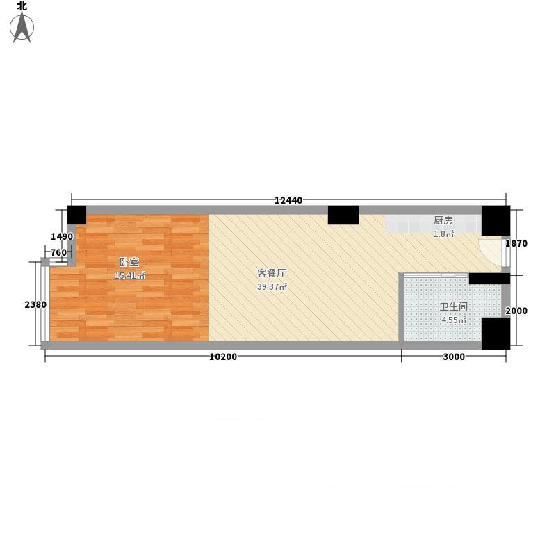 金凤凰商务公寓62.47㎡A户型1室1厅1卫1厨