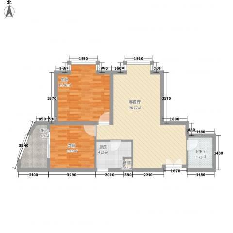 兴庆宫2室1厅1卫1厨85.00㎡户型图