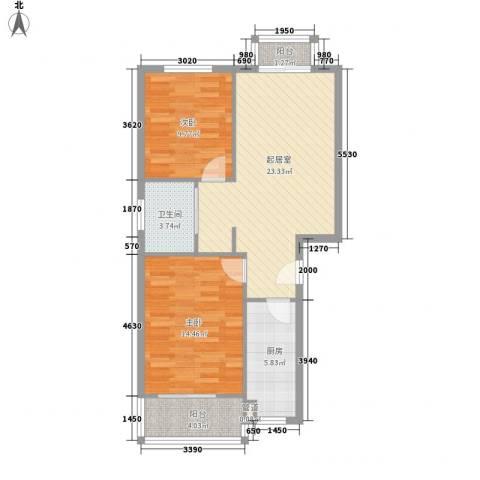翠庭园2室0厅1卫1厨88.00㎡户型图