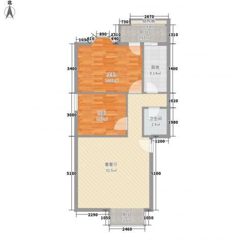 大唐长风一期2室1厅1卫1厨95.00㎡户型图