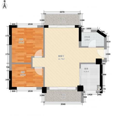 聚富花园2室1厅1卫1厨72.00㎡户型图