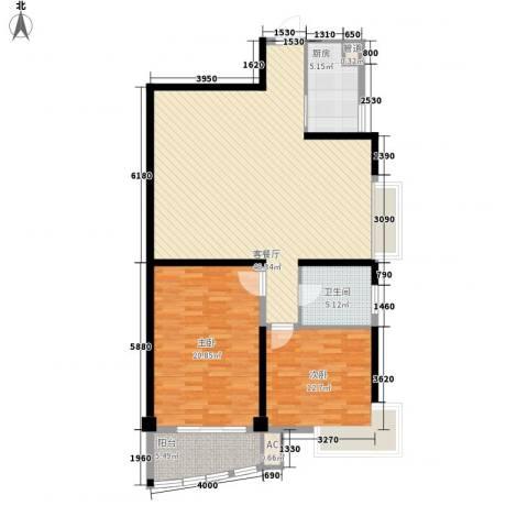 东方瑞景2室1厅1卫1厨135.00㎡户型图