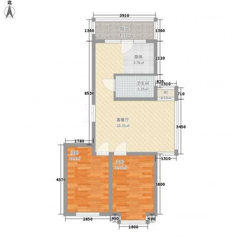 伸马梧桐湾2室1厅1卫0厨78.00㎡户型图
